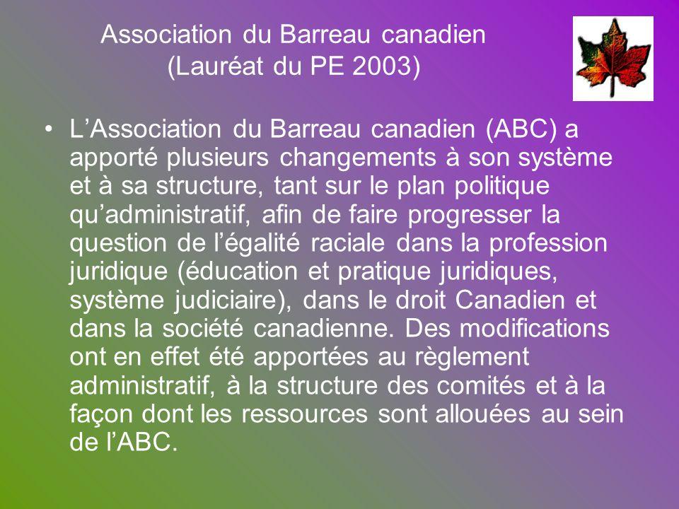 LAssociation du Barreau canadien (ABC) a apporté plusieurs changements à son système et à sa structure, tant sur le plan politique quadministratif, af
