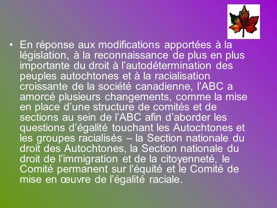 En réponse aux modifications apportées à la législation, à la reconnaissance de plus en plus importante du droit à lautodétermination des peuples auto