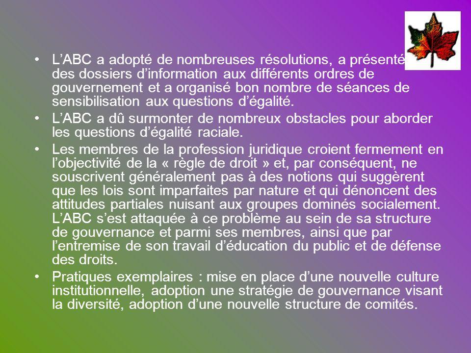 LABC a adopté de nombreuses résolutions, a présenté des dossiers dinformation aux différents ordres de gouvernement et a organisé bon nombre de séance