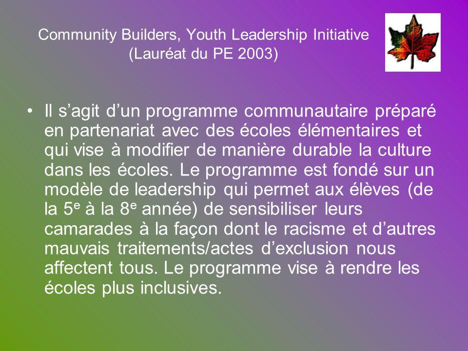 Community Builders, Youth Leadership Initiative (Lauréat du PE 2003) Il sagit dun programme communautaire préparé en partenariat avec des écoles éléme
