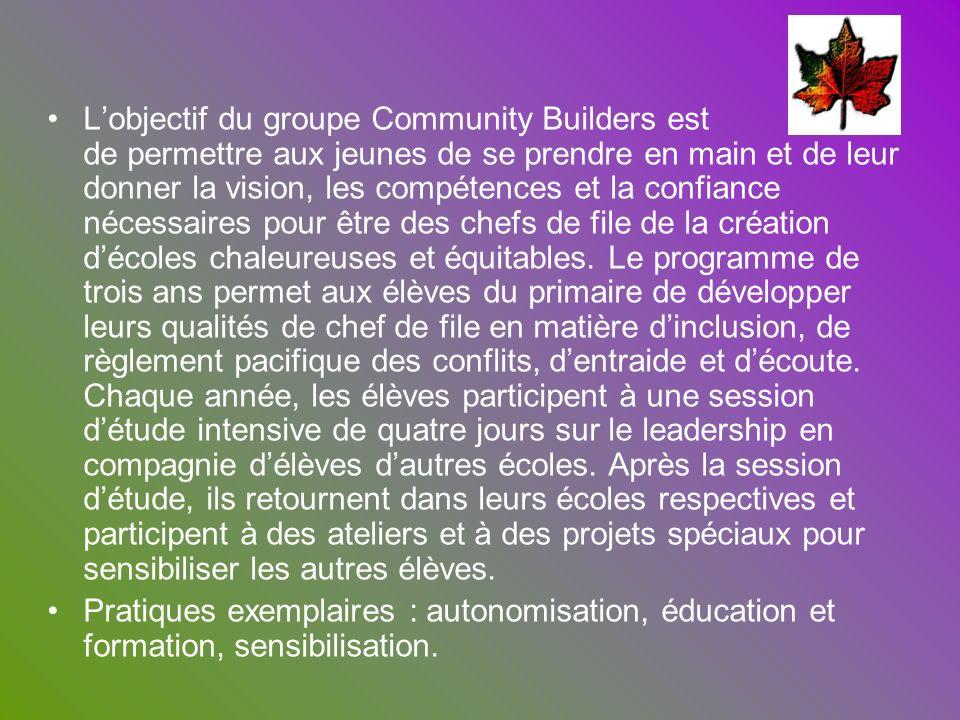 Lobjectif du groupe Community Builders est de permettre aux jeunes de se prendre en main et de leur donner la vision, les compétences et la confiance