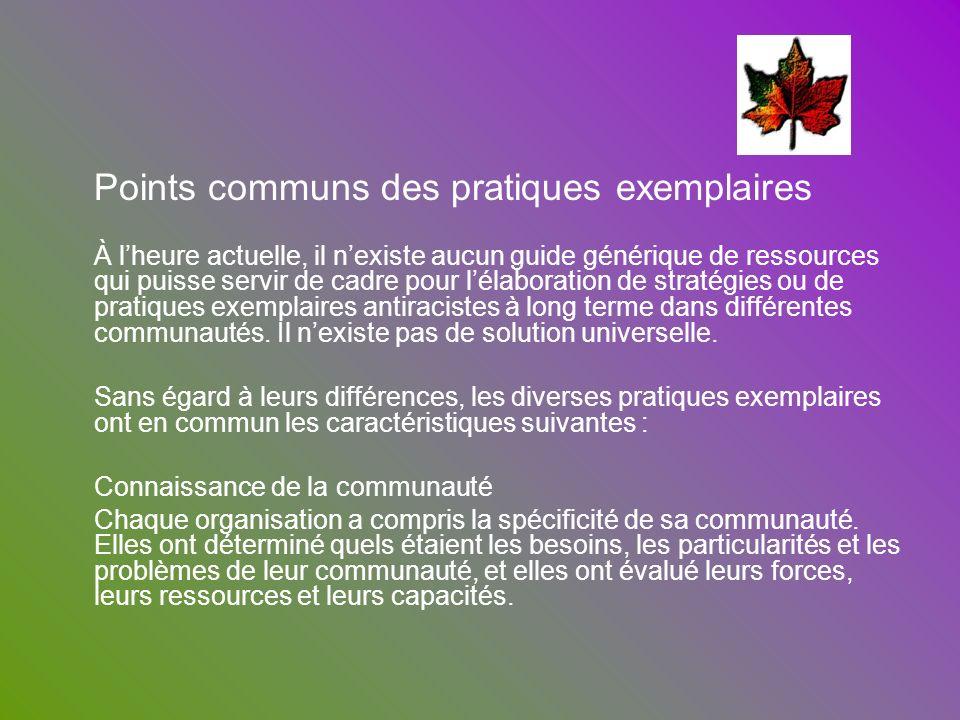 Points communs des pratiques exemplaires À lheure actuelle, il nexiste aucun guide générique de ressources qui puisse servir de cadre pour lélaboratio