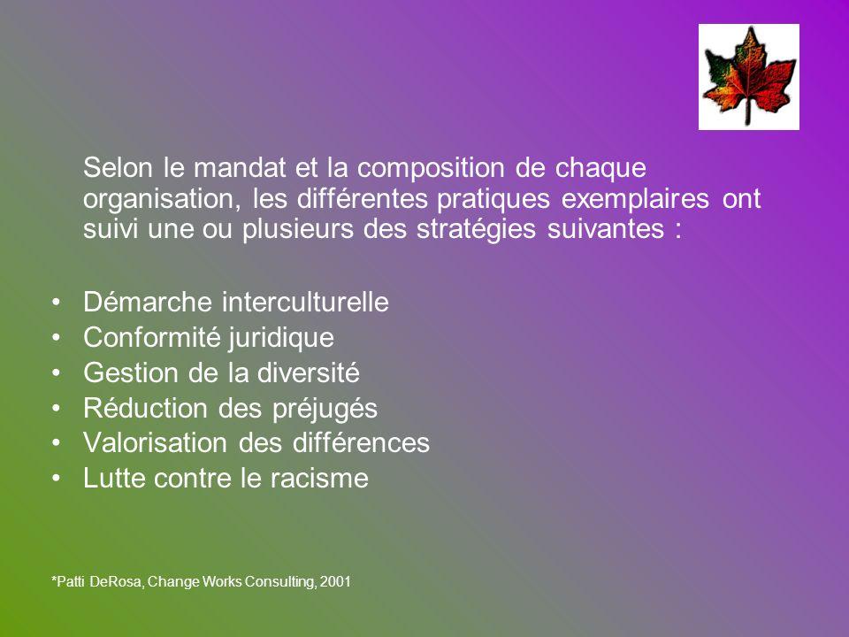Selon le mandat et la composition de chaque organisation, les différentes pratiques exemplaires ont suivi une ou plusieurs des stratégies suivantes :