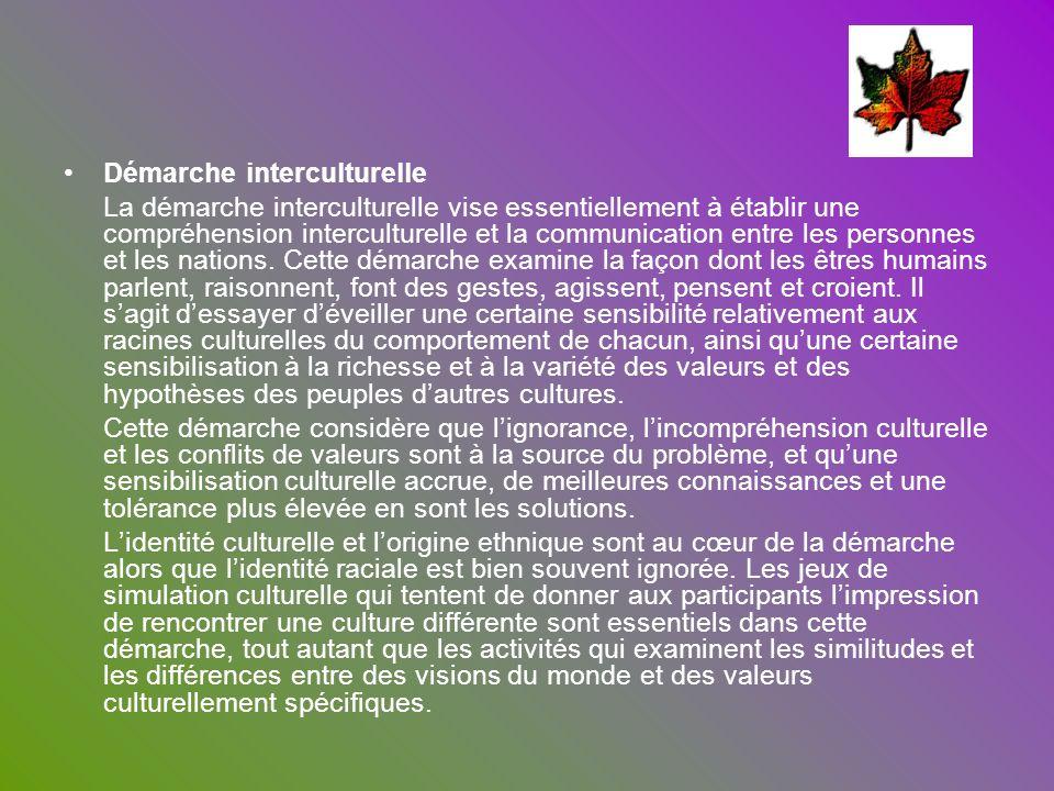Démarche interculturelle La démarche interculturelle vise essentiellement à établir une compréhension interculturelle et la communication entre les pe