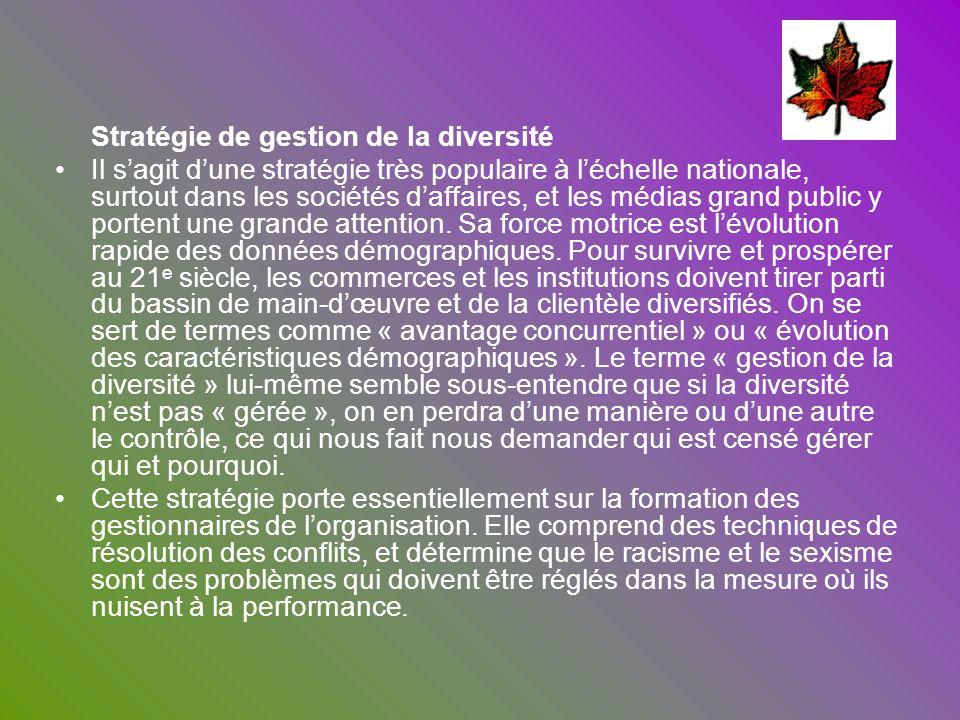 Stratégie de gestion de la diversité Il sagit dune stratégie très populaire à léchelle nationale, surtout dans les sociétés daffaires, et les médias g