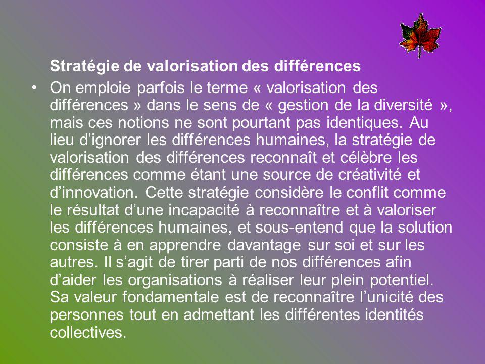 Stratégie de valorisation des différences On emploie parfois le terme « valorisation des différences » dans le sens de « gestion de la diversité », ma