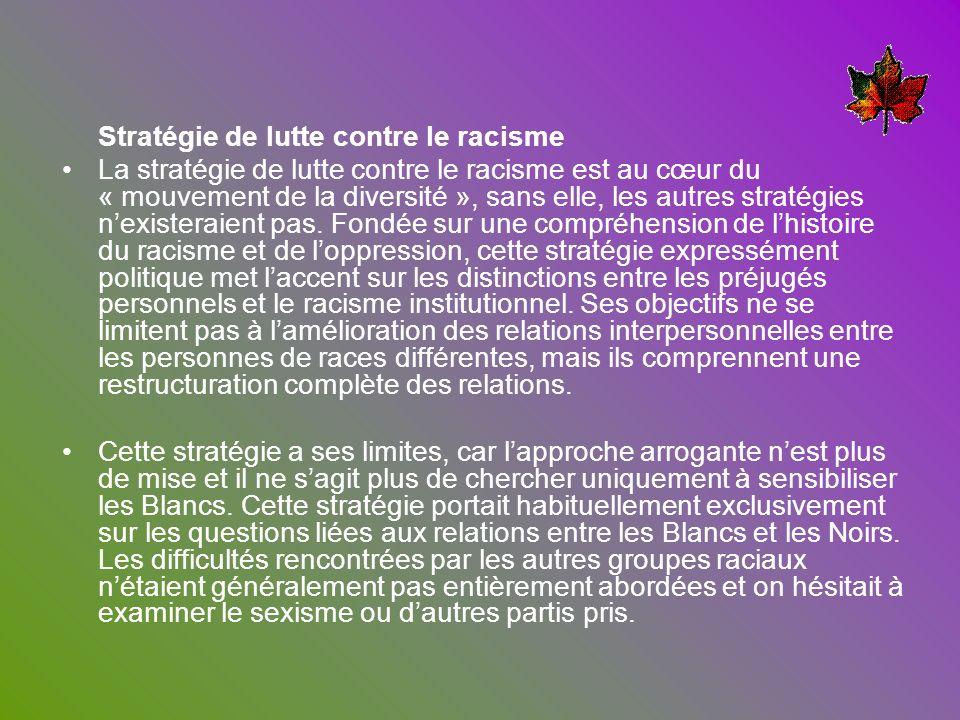 Stratégie de lutte contre le racisme La stratégie de lutte contre le racisme est au cœur du « mouvement de la diversité », sans elle, les autres strat