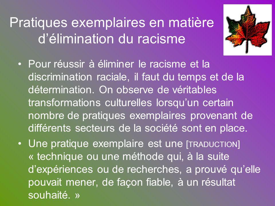 Pratiques exemplaires en matière délimination du racisme Pour réussir à éliminer le racisme et la discrimination raciale, il faut du temps et de la dé