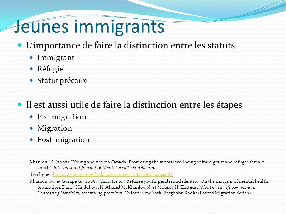 Jeunes immigrants Limportance de faire la distinction entre les statuts Immigrant Réfugié Statut précaire Il est aussi utile de faire la distinction entre les étapes Pré-migration Migration Post-migration Khanlou, N.