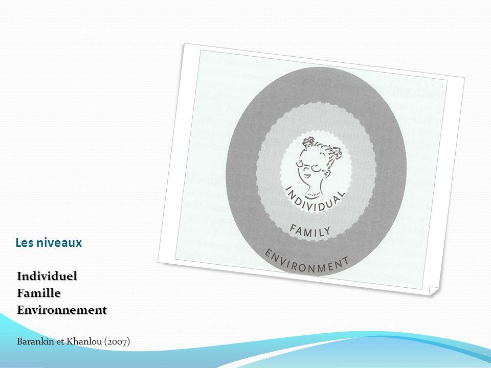 Les niveaux IndividuelFamilleEnvironnement Barankin et Khanlou (2007)
