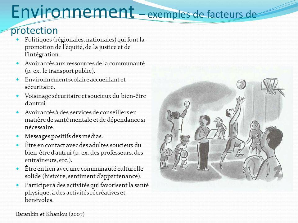 Environnement – exemples de facteurs de protection Politiques (régionales, nationales) qui font la promotion de léquité, de la justice et de lintégration.