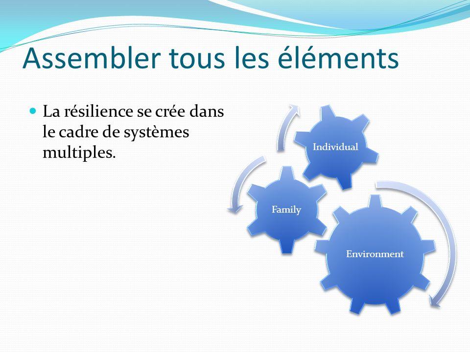 Assembler tous les éléments La résilience se crée dans le cadre de systèmes multiples.
