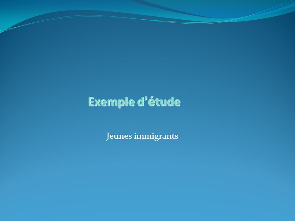 Jeunes immigrants Exemple d é tude
