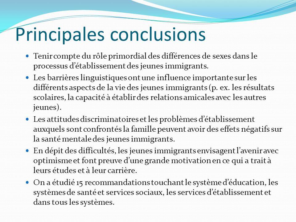 Principales conclusions Tenir compte du rôle primordial des différences de sexes dans le processus détablissement des jeunes immigrants.