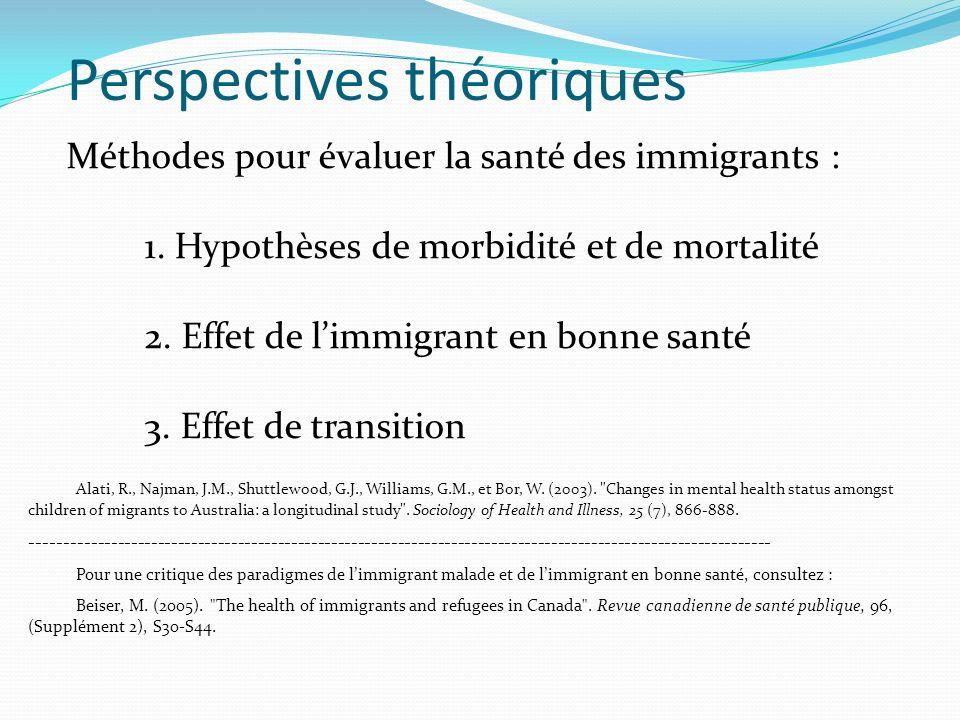 Méthodes pour évaluer la santé des immigrants : 1.