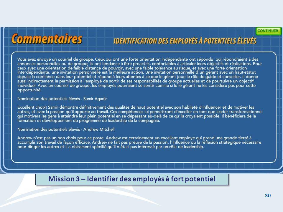 30 Mission 3 – Identifier des employés à fort potentiel