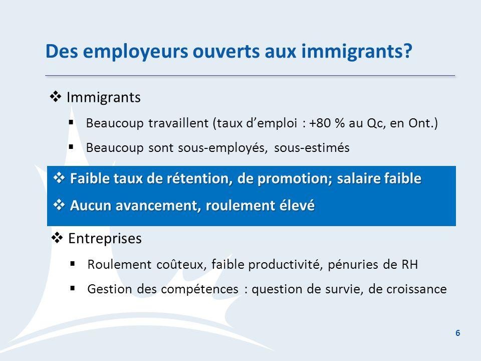 Des employeurs ouverts aux immigrants.