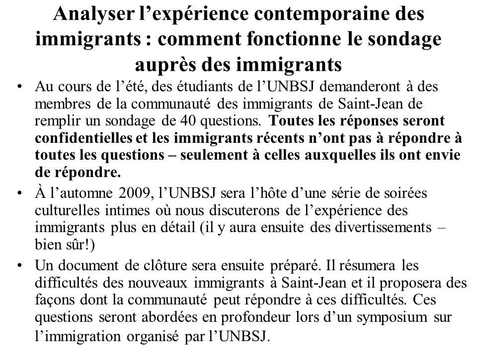 Analyser lexpérience contemporaine des immigrants : comment fonctionne le sondage auprès des immigrants Au cours de lété, des étudiants de lUNBSJ demanderont à des membres de la communauté des immigrants de Saint-Jean de remplir un sondage de 40 questions.