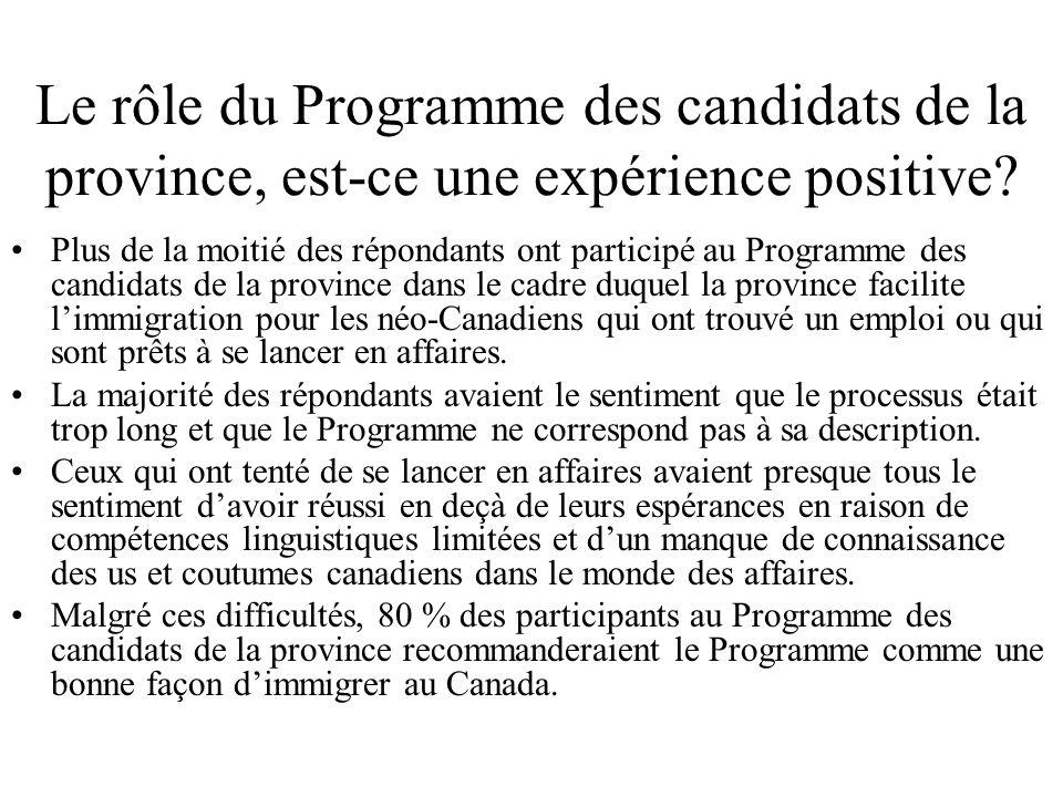 Le rôle du Programme des candidats de la province, est-ce une expérience positive.