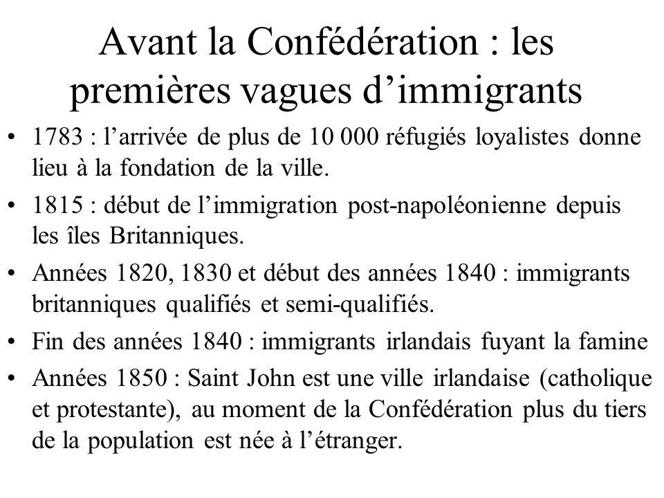 Avant la Confédération : les premières vagues dimmigrants 1783 : larrivée de plus de 10 000 réfugiés loyalistes donne lieu à la fondation de la ville.
