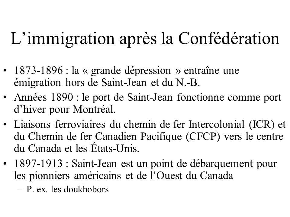 Limmigration après la Confédération 1873-1896 : la « grande dépression » entraîne une émigration hors de Saint-Jean et du N.-B.