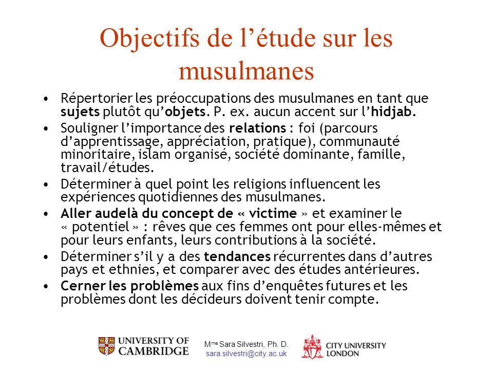M me Sara Silvestri, Ph. D. sara.silvestri@city.ac.uk Objectifs de létude sur les musulmanes Répertorier les préoccupations des musulmanes en tant que