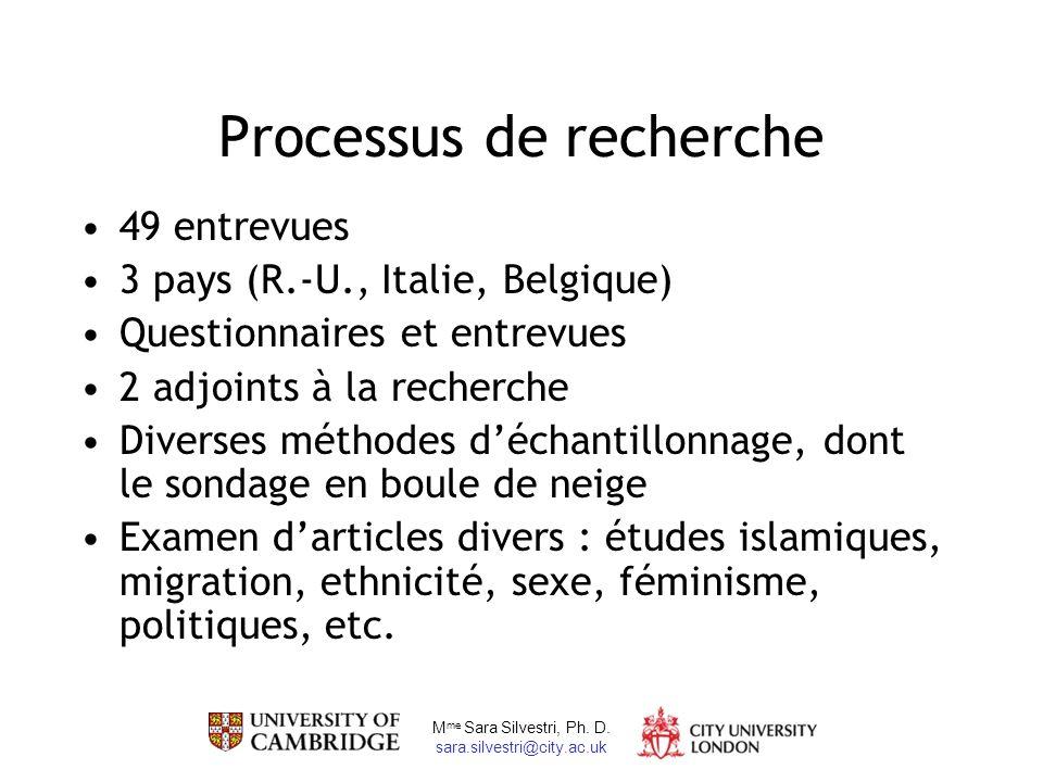 M me Sara Silvestri, Ph. D. sara.silvestri@city.ac.uk Processus de recherche 49 entrevues 3 pays (R.-U., Italie, Belgique) Questionnaires et entrevues
