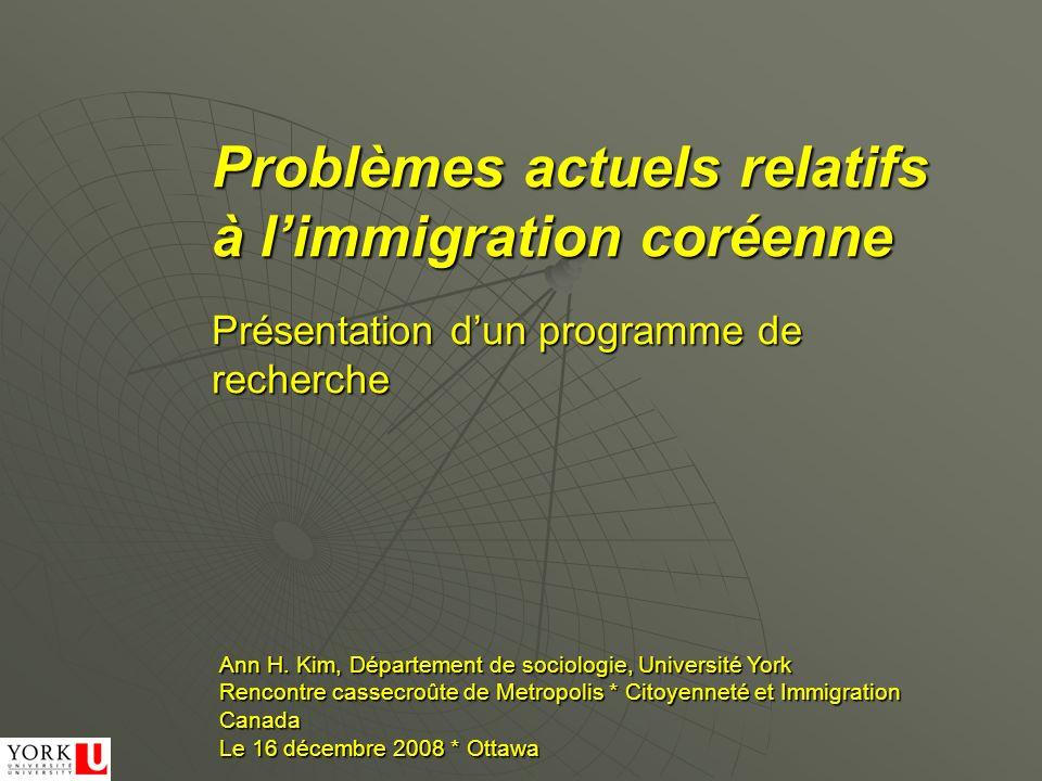 Problèmes actuels relatifs à limmigration coréenne Ann H. Kim, Département de sociologie, Université York Rencontre cassecroûte de Metropolis * Citoy