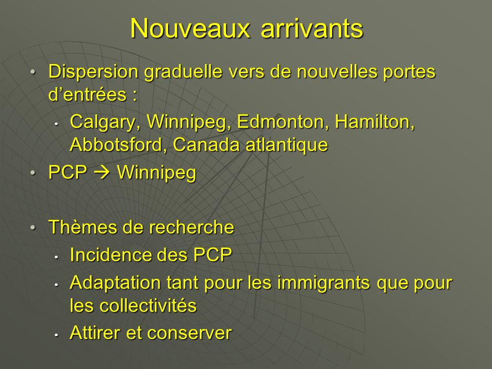 Nouveaux arrivants Dispersion graduelle vers de nouvelles portes dentrées : Dispersion graduelle vers de nouvelles portes dentrées : Calgary, Winnipeg