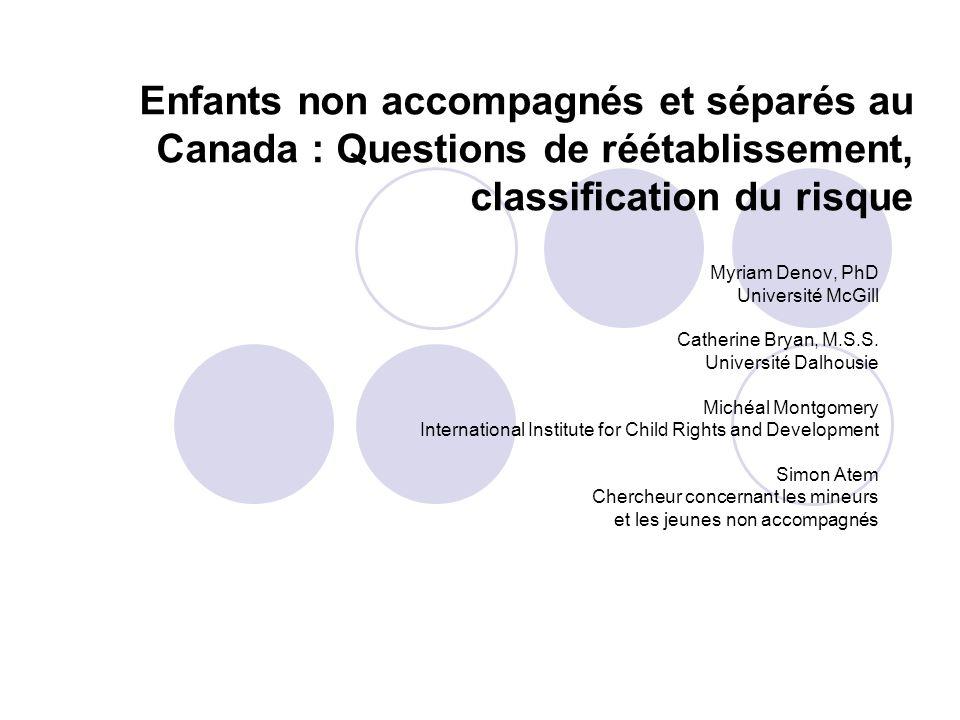 Échantillon de létude 24 participants (jusquà maintenant) 7 enfants non accompagnés et séparés (5 garçons et 2 filles) Jeunes provenant du Soudan, de lÉthiopie, de lAfghanistan, du Kenya et du Congo 17 intervenants 6 Colombie-Britannique 7 Québec 1 Manitoba 1 Ontario 2 É.-U.