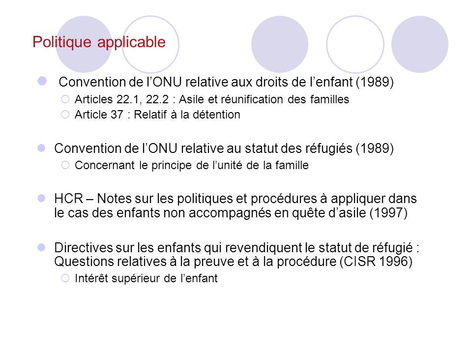 Politique applicable Convention de lONU relative aux droits de lenfant (1989) Articles 22.1, 22.2 : Asile et réunification des familles Article 37 : Relatif à la détention Convention de lONU relative au statut des réfugiés (1989) Concernant le principe de lunité de la famille HCR – Notes sur les politiques et procédures à appliquer dans le cas des enfants non accompagnés en quête dasile (1997) Directives sur les enfants qui revendiquent le statut de réfugié : Questions relatives à la preuve et à la procédure (CISR 1996) Intérêt supérieur de lenfant