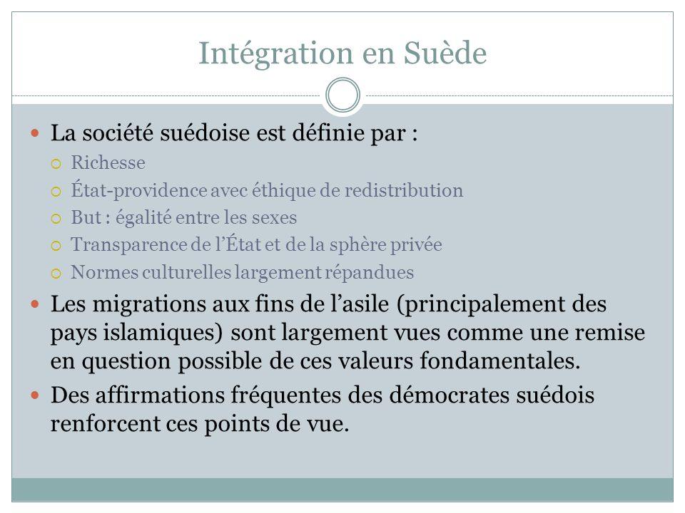Intégration en Suède La société suédoise est définie par : Richesse État-providence avec éthique de redistribution But : égalité entre les sexes Trans
