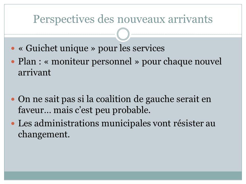 Perspectives des nouveaux arrivants « Guichet unique » pour les services Plan : « moniteur personnel » pour chaque nouvel arrivant On ne sait pas si l