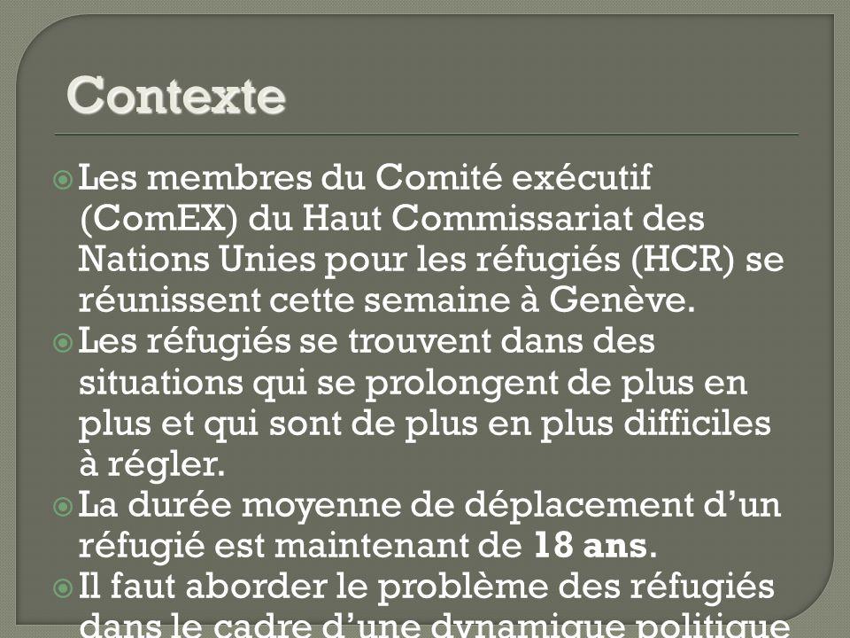 Les membres du Comité exécutif (ComEX) du Haut Commissariat des Nations Unies pour les réfugiés (HCR) se réunissent cette semaine à Genève.