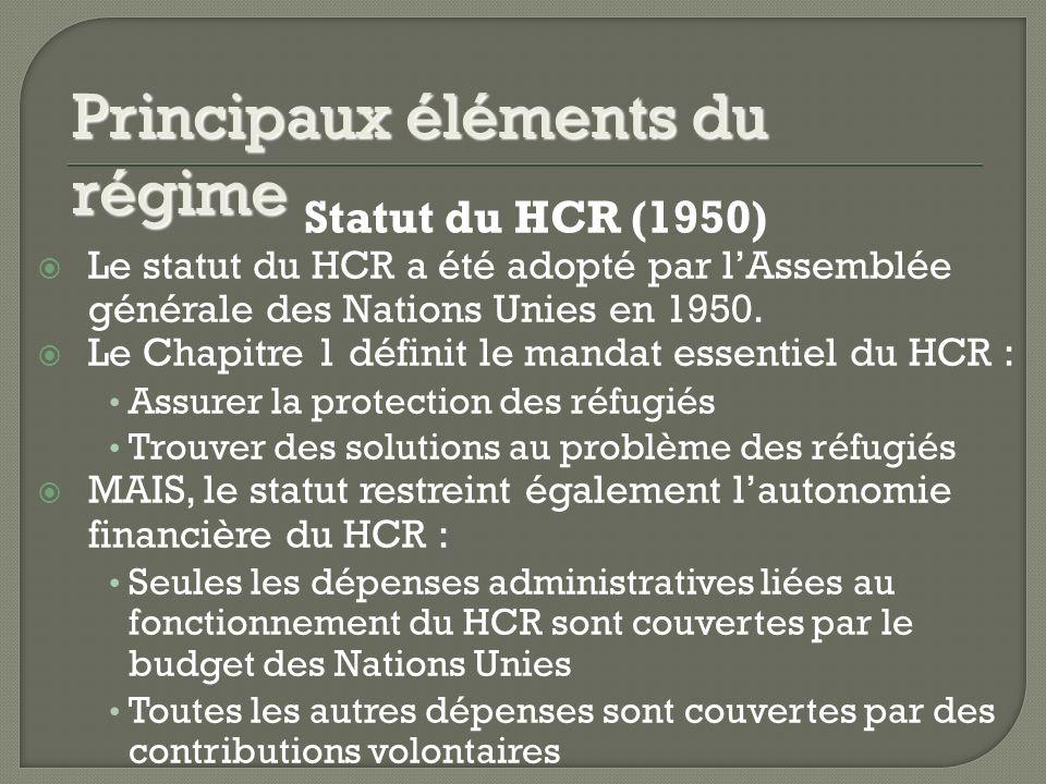 Statut du HCR (1950) Le statut du HCR a été adopté par lAssemblée générale des Nations Unies en 1950.