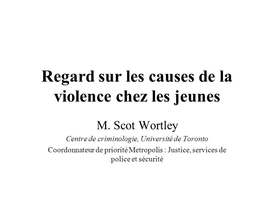 Regard sur les causes de la violence chez les jeunes M. Scot Wortley Centre de criminologie, Université de Toronto Coordonnateur de priorité Metropoli