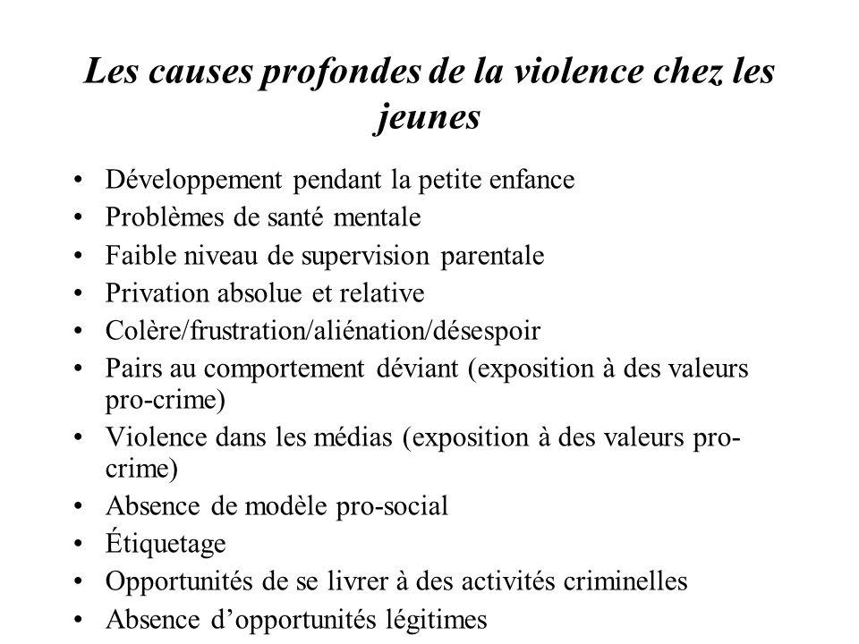 Les causes profondes de la violence chez les jeunes Développement pendant la petite enfance Problèmes de santé mentale Faible niveau de supervision pa