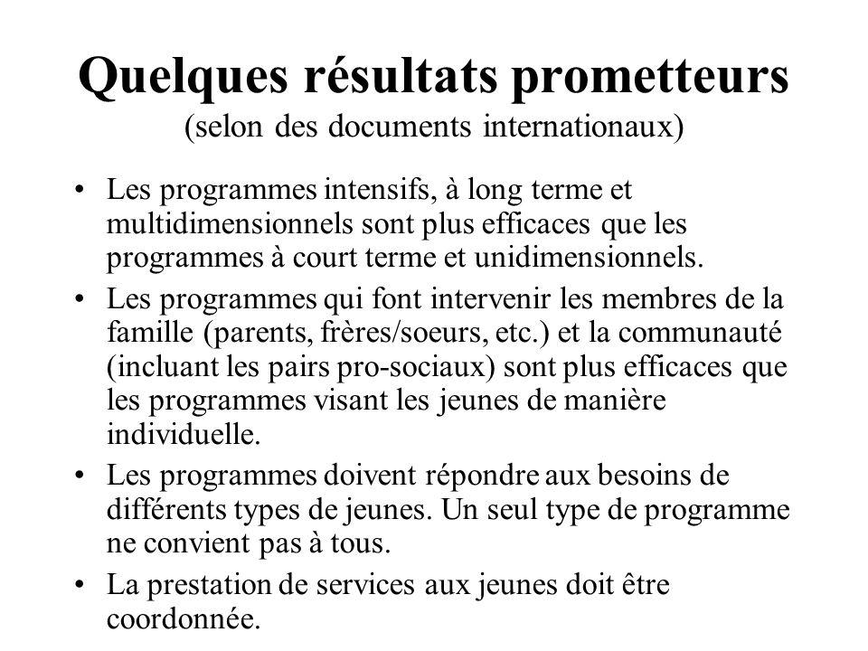 Quelques résultats prometteurs (selon des documents internationaux) Les programmes intensifs, à long terme et multidimensionnels sont plus efficaces q