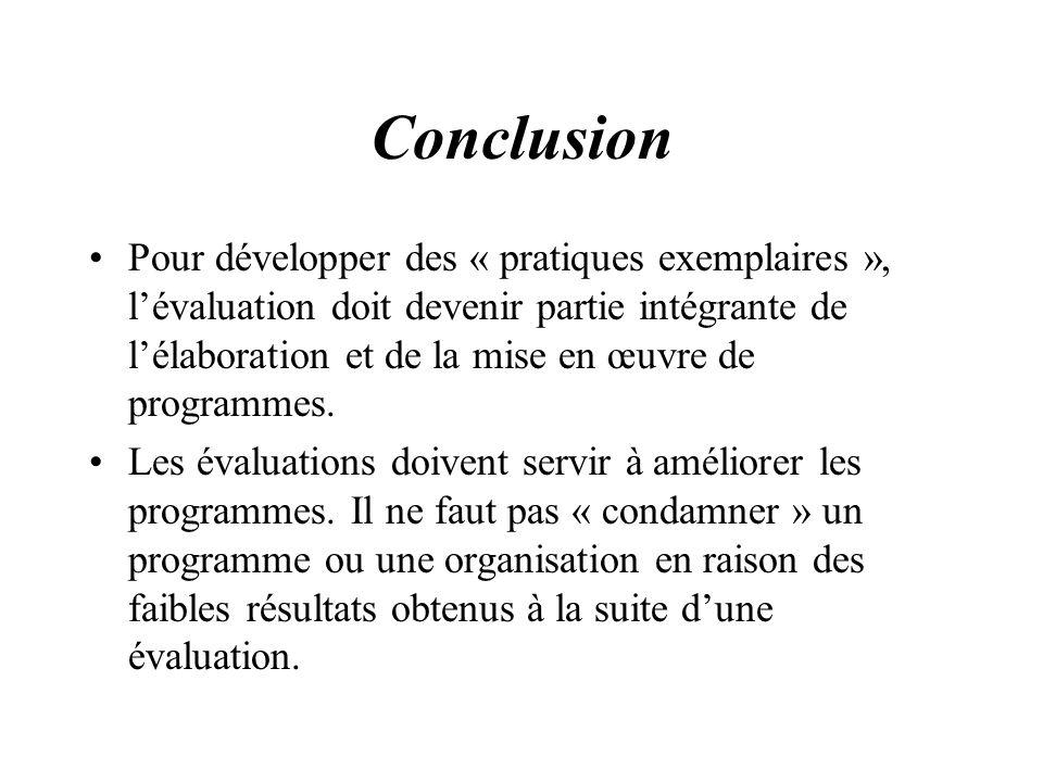 Conclusion Pour développer des « pratiques exemplaires », lévaluation doit devenir partie intégrante de lélaboration et de la mise en œuvre de program