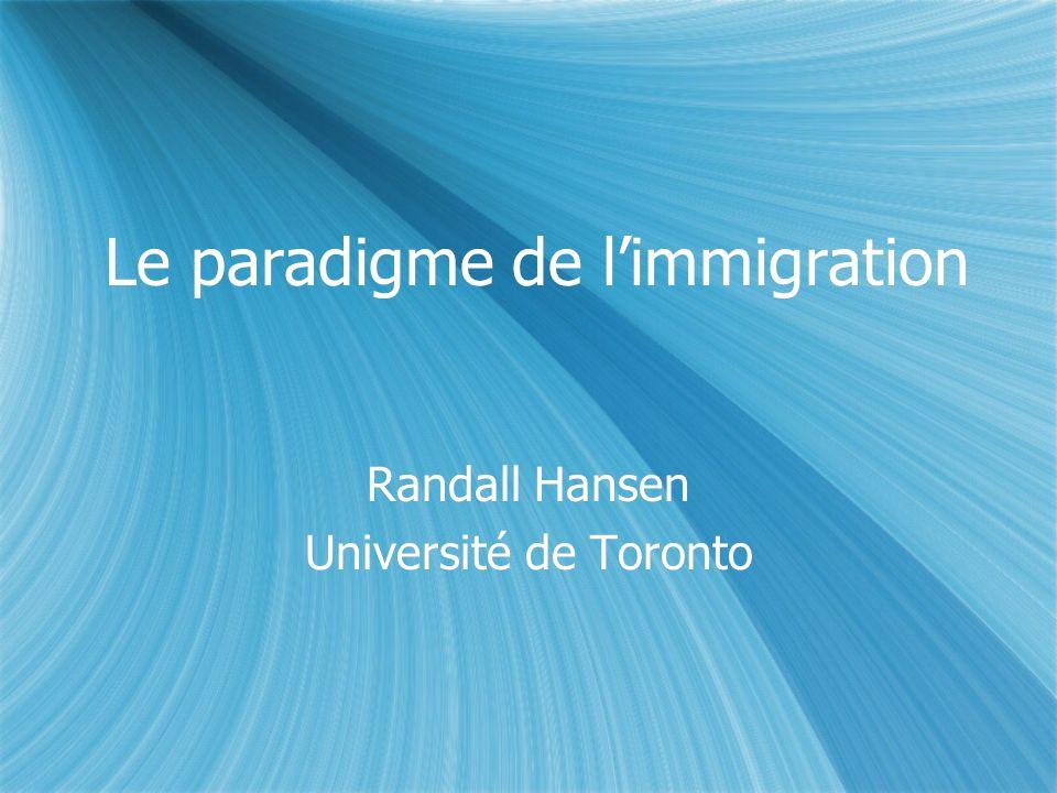 Le paradigme de limmigration Randall Hansen Université de Toronto Randall Hansen Université de Toronto