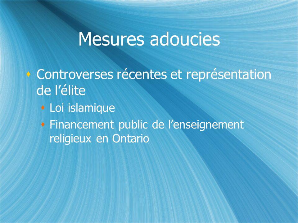 Mesures adoucies Controverses récentes et représentation de lélite Loi islamique Financement public de lenseignement religieux en Ontario Controverses récentes et représentation de lélite Loi islamique Financement public de lenseignement religieux en Ontario