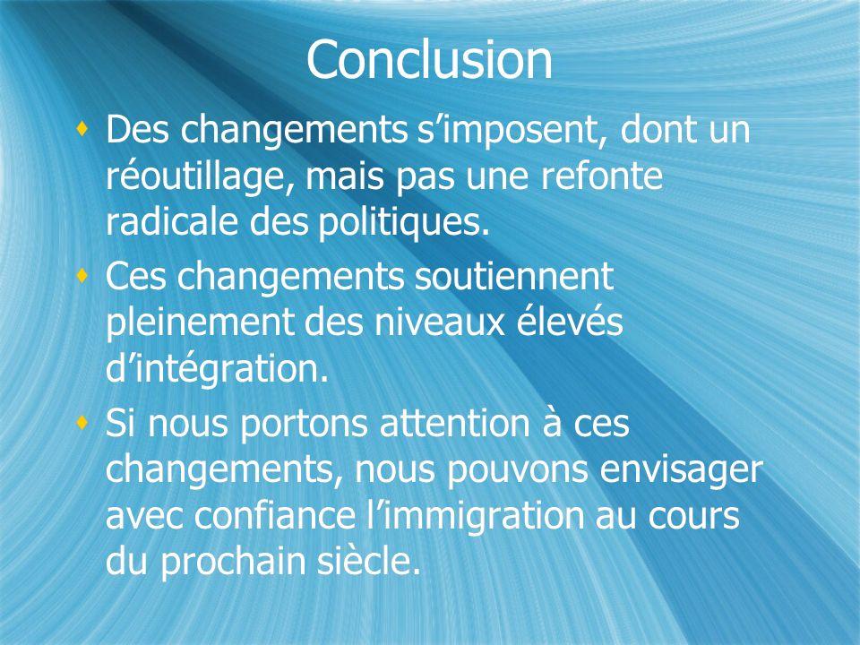 Conclusion Des changements simposent, dont un réoutillage, mais pas une refonte radicale des politiques.