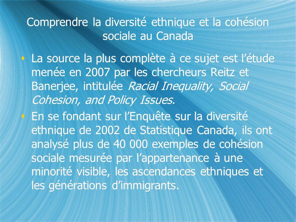 Comprendre la diversité ethnique et la cohésion sociale au Canada La source la plus complète à ce sujet est létude menée en 2007 par les chercheurs Reitz et Banerjee, intitulée Racial Inequality, Social Cohesion, and Policy Issues.