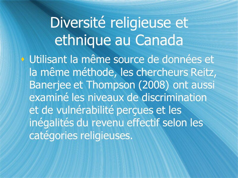Diversité religieuse et ethnique au Canada Utilisant la même source de données et la même méthode, les chercheurs Reitz, Banerjee et Thompson (2008) ont aussi examiné les niveaux de discrimination et de vulnérabilité perçues et les inégalités du revenu effectif selon les catégories religieuses.