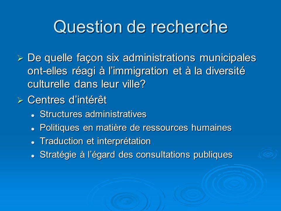 Question de recherche De quelle façon six administrations municipales ont-elles réagi à limmigration et à la diversité culturelle dans leur ville.