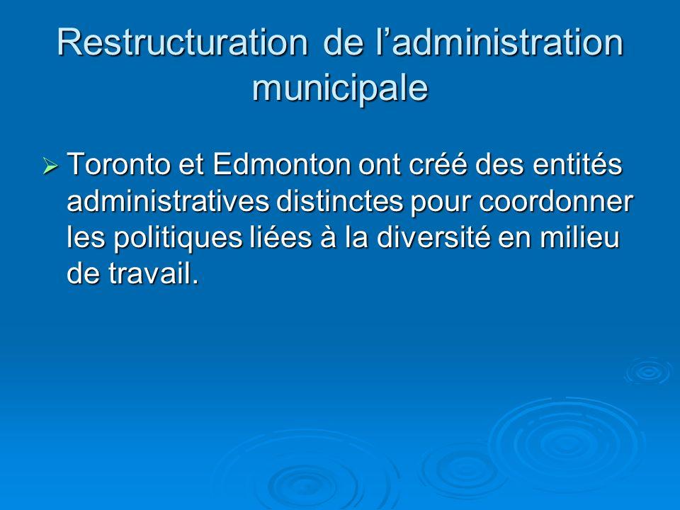 Restructuration de ladministration municipale Toronto et Edmonton ont créé des entités administratives distinctes pour coordonner les politiques liées à la diversité en milieu de travail.