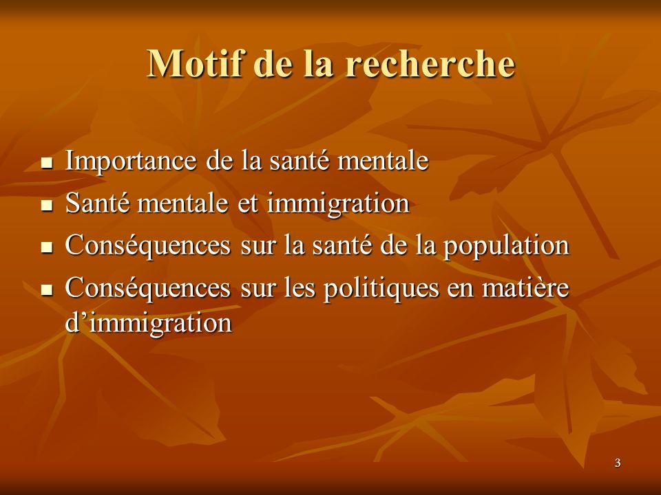 3 Motif de la recherche Importance de la santé mentale Importance de la santé mentale Santé mentale et immigration Santé mentale et immigration Conséquences sur la santé de la population Conséquences sur la santé de la population Conséquences sur les politiques en matière dimmigration Conséquences sur les politiques en matière dimmigration