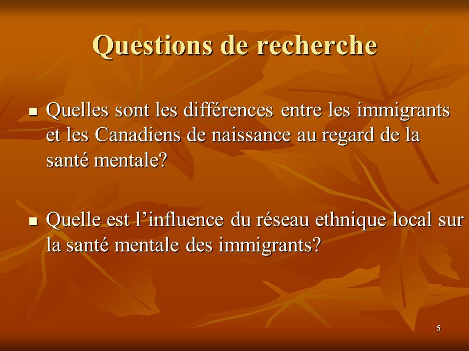 5 Questions de recherche Quelles sont les différences entre les immigrants et les Canadiens de naissance au regard de la santé mentale.