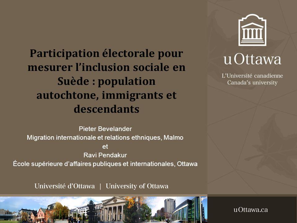 Participation électorale pour mesurer linclusion sociale en Suède : population autochtone, immigrants et descendants Pieter Bevelander Migration inter