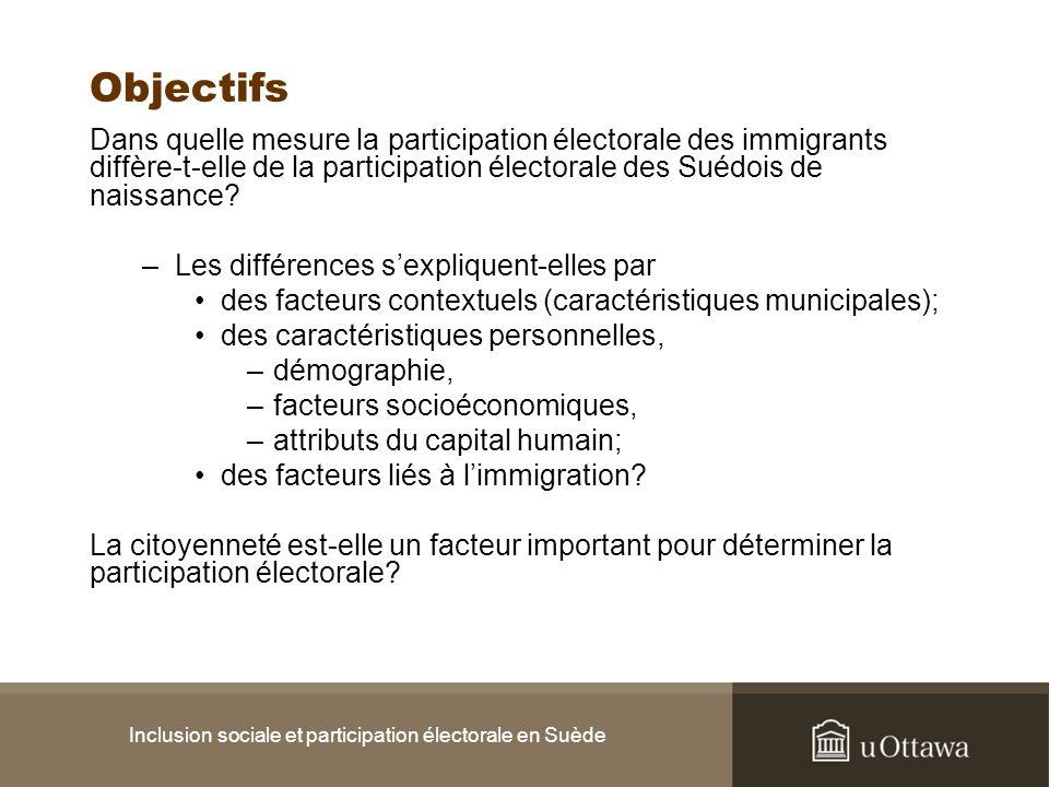Inclusion sociale et participation électorale en Suède Objectifs Dans quelle mesure la participation électorale des immigrants diffère-t-elle de la pa